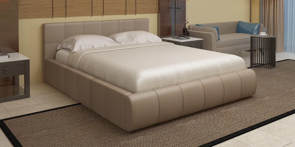 Кровать афина белая с подъемным механизмом экокожа